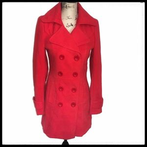 Forever 21 Pea Coat Dbl Breasted Red sz S